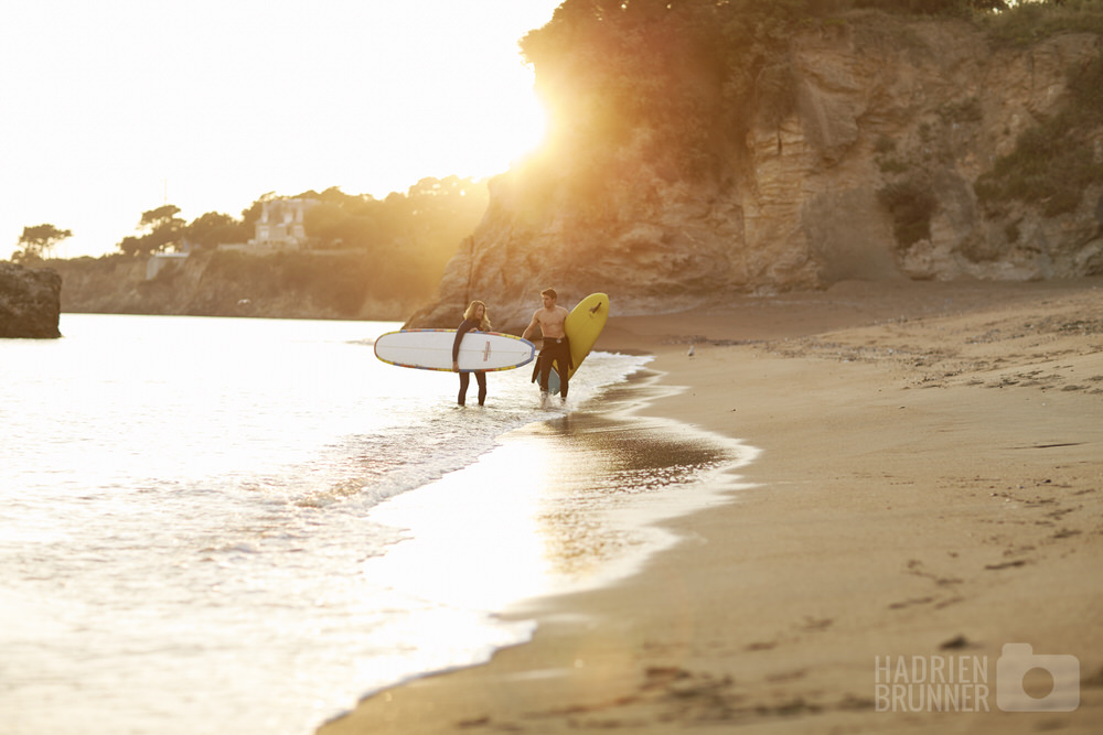 Photos couple surfers Pornichet saint-nazaire - Photographe Hadrien Brunner